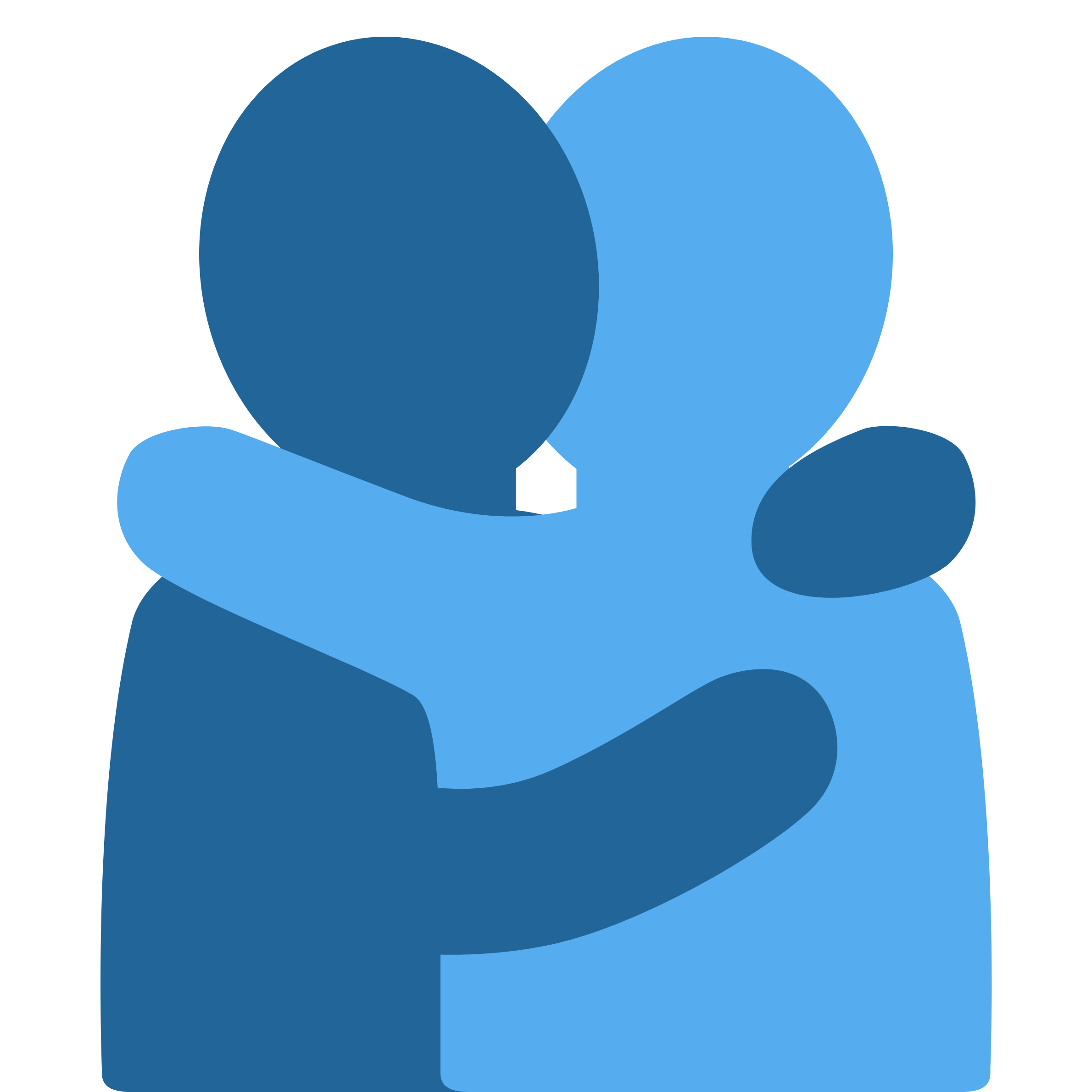 A Silhouette of two people hugging